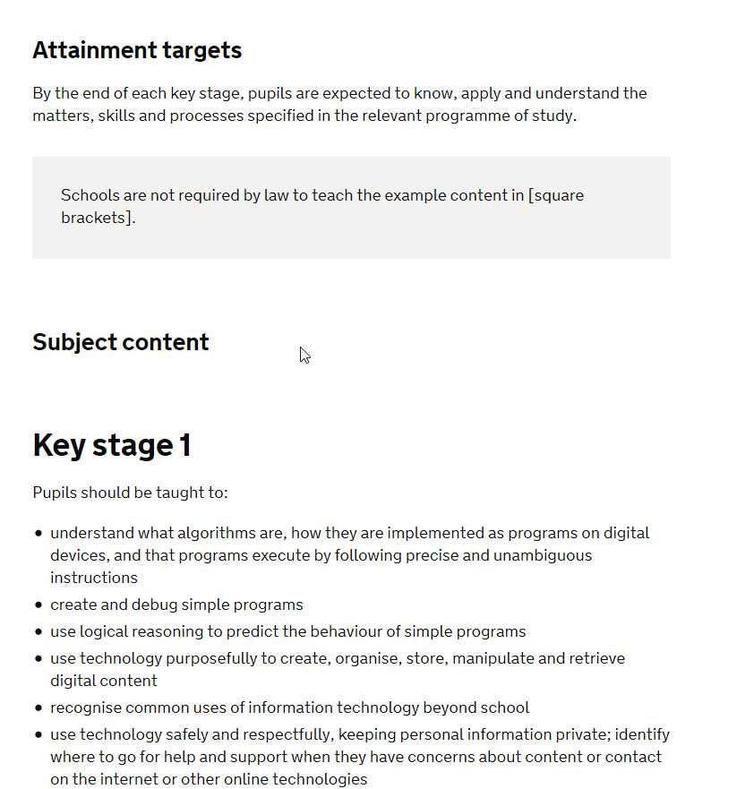 Computational Thinking -UK Curriculum